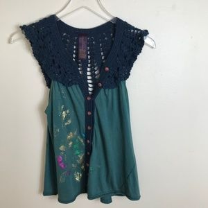 Free People Cotton Crochet button up Top Xs 2203